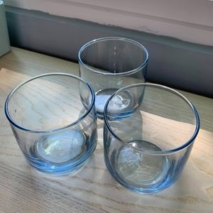 Blue tinted low-ball glasses set
